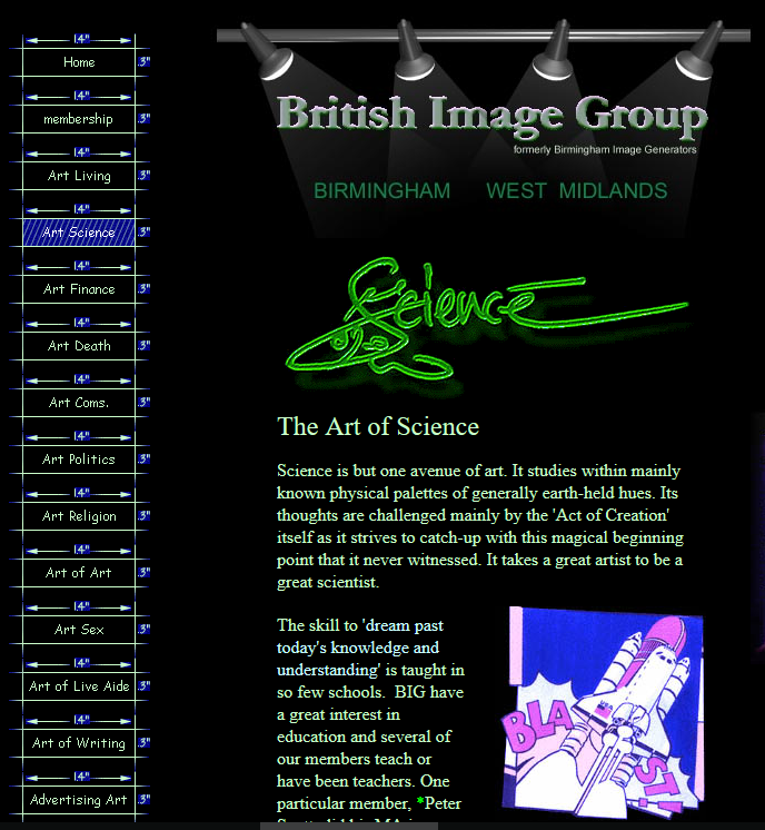 British Image Group archived site at http://web.archive.org/web/20041213012802/http://www.geocities.com:80/big_uk_2002/art_science.html